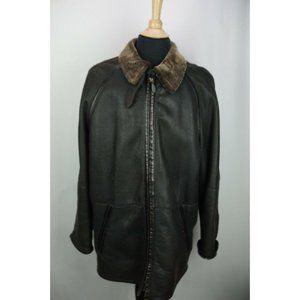 LaMatta Black Leather Shearling Long Mens Overcoat